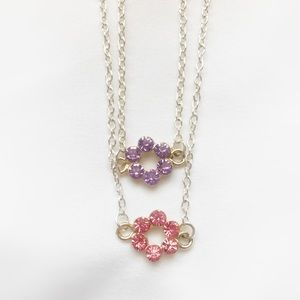 Jewelry - Pink and Purple Crystal Charm Necklace 16 inch